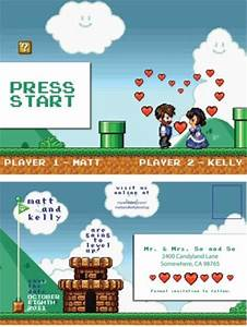 invitations wedding invitations and video games on pinterest With wedding invitation cards games