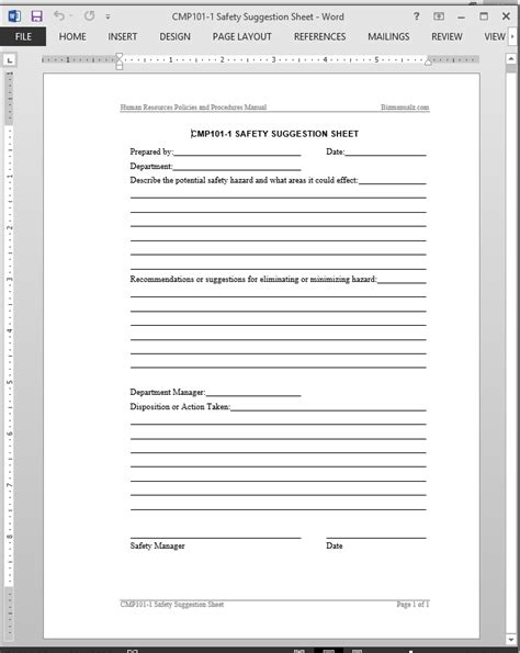 safety suggestion worksheet template