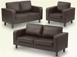 3 2 1 Sofa Set : ideal furniture box brown faux leather 3 2 1 seater sofa set ~ Markanthonyermac.com Haus und Dekorationen