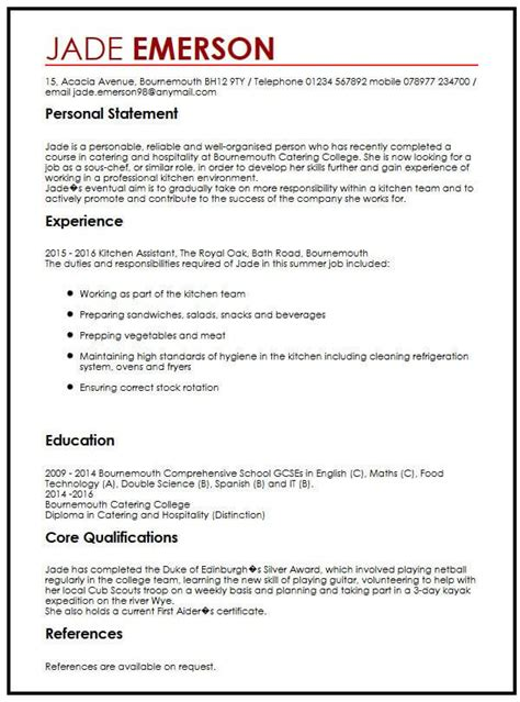 cv template personal statement examples   write