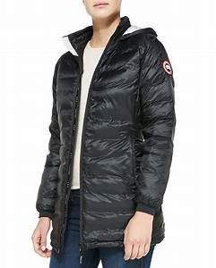 Canada Goose Camp Hooded Midlength Puffer Jacket In Black Lyst