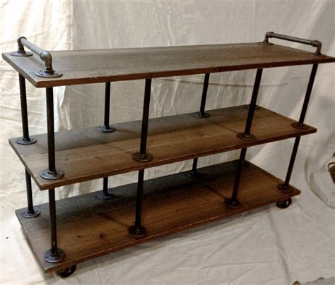 iron pipe desk plans industrial tv stand iron and wood for 46 to 52