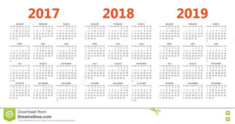 Vector Calendar Templates 2017, 2018, 2019 Stock Vector Business Cards Printing Waterloo Card Visalia New Zealand Sample Plan High School Students Pdf Coffee Shop For Beauty Supply Store Plans Nonprofit Organizations Letter Acknowledgement