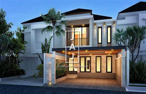 desain rumah 2 lantai 182m2 style bali modern bapak fairuz