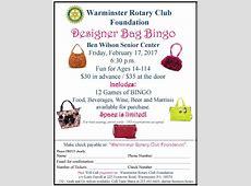 Designer Bag Bingo Feb 17, 2017 Rotary Club of Warminster