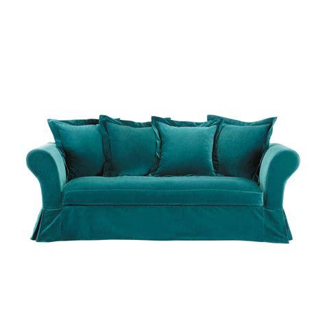 canapé fixe 4 places canapé 3 4 places fixe velours bleu velvet maisons du monde
