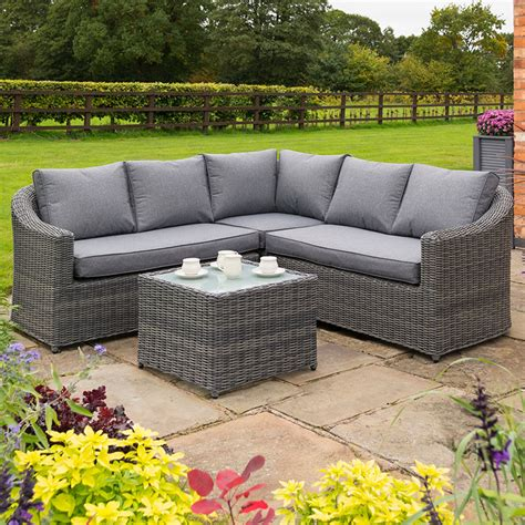 rowlinson bunbury rattan corner garden sofa set grey