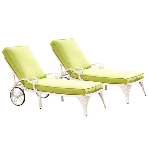 home styles biscayne white chaise lounge chairs 2 green apple cushions