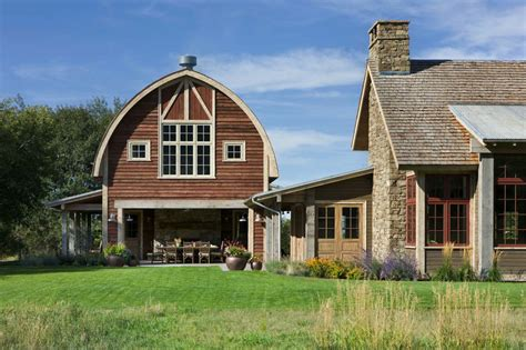 picturesque montana farmhouse with an attached barn