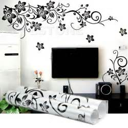 black flowers removable wall stickers wall decals mural home art diy decor new ebay