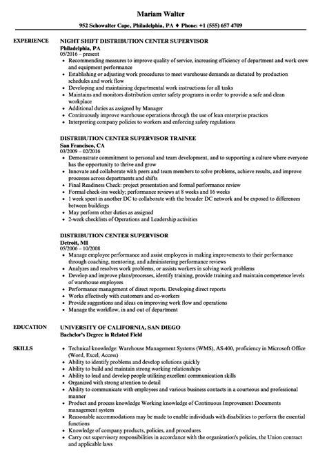 distribution center supervisor resume sles velvet