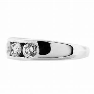 14kt white gold 5 stone channel set diamond wedding band With 5 stone wedding ring