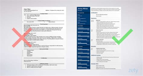 What To Put On A Resume For Babysitting by Resume Sle And Complete Guide 20 Exles