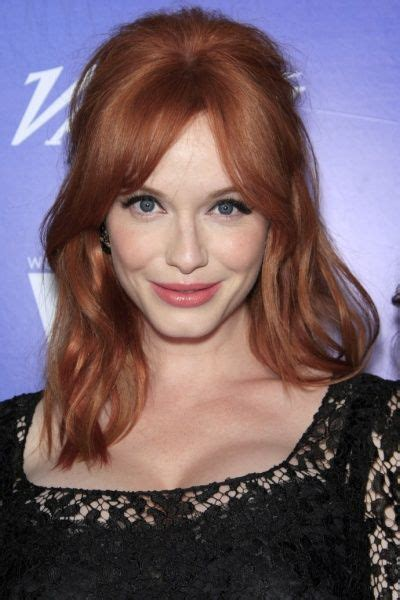 christina hendricks shows  face long neck hairstyles   style top   haircuts