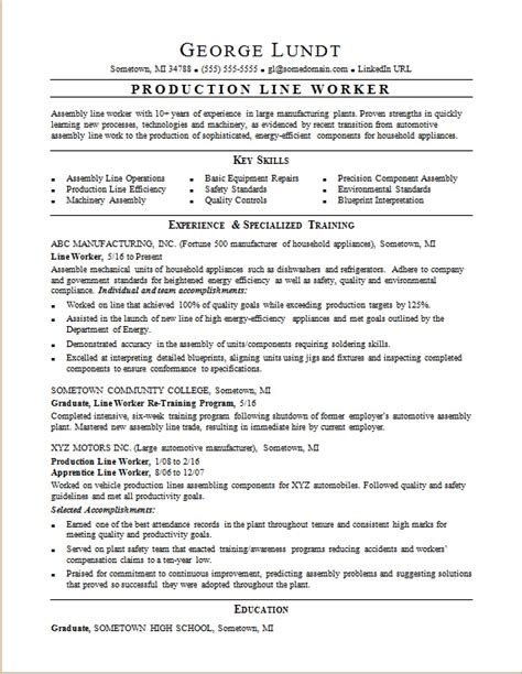 Production Resume by Production Line Resume Sle