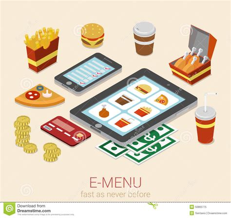 menu mobile device  menu order flat  isometric