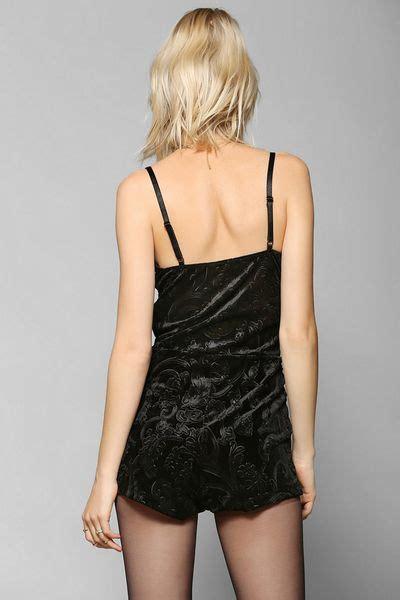 Urban Outfitters Stardust Embossed Velvet Romper in Black | Lyst