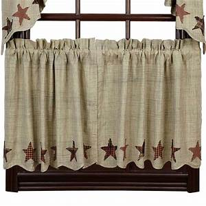 Abilene Star Lined Curtain Tiers: Primitive Home Decors