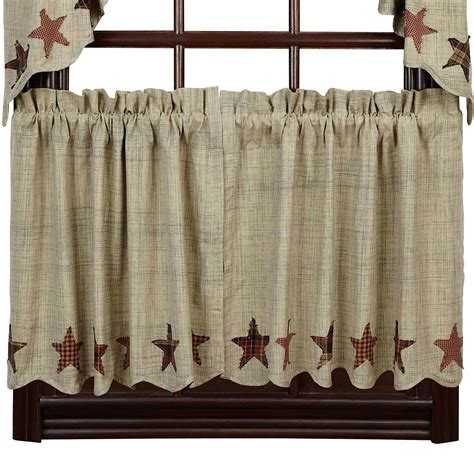 Abilene Star Lined Curtain Tiers: Primitive Home Decors