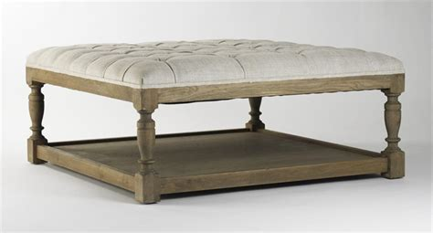 coffee table with ottomans underneath square tufted linen elm coffee table ottoman