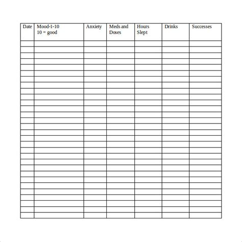 sample mood chart templates   ms word excel