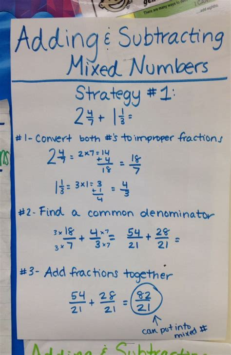 adding  subtracting mixed numbers  grade math