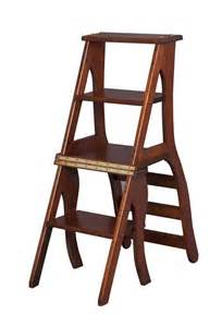 Wooden Library Step Stool Chair