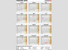 Kalender 2019 zum Ausdrucken als PDF 16 Vorlagen, kostenlos