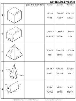 Surface Area Coloring Worksheet By Lindsay Perro Tpt