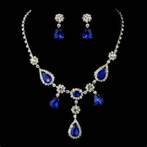 pear drop earrings 4 sets of silver clear royal blue necklace earrings