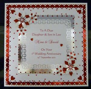 st wedding anniversary card wifehusbanddaughterson  personalised ebay