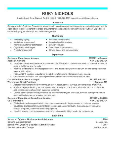 best customer experience manager resume exle livecareer