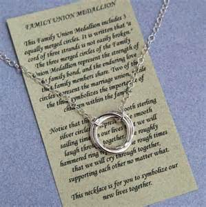 wedding gifts for stepchildren family union medallion necklace sterling silver with poem