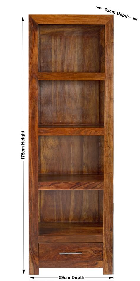 Indian Wood Bookcase by Cube Indian Sheesham Wood Modern Compact Bookcase