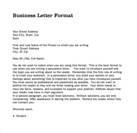 sample professional business letter  documents