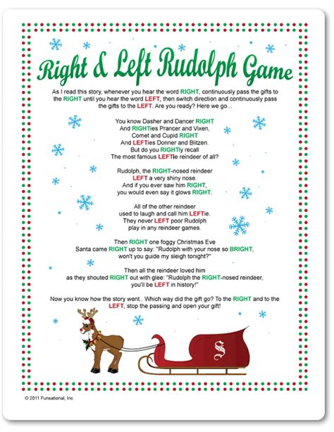 printable right left rudolph game funsational com