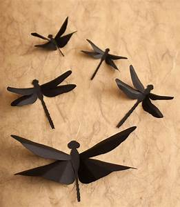 dragonfly wall art 3d wall dragonflies in silhouette for With dragonfly wall decor