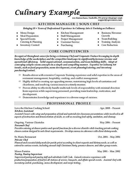 Chef Resume by Sous Chef Resume Exles Chef Resume Manager Resume