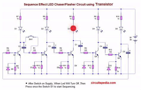 Led Flasher Chaser Circuit With Without Electronic