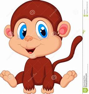 Cute Baby Monkey Cartoon Stock Vector - Image: 39159729