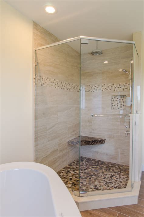 showers ideas shower ideas large custom tile shower with large tile walls with small glass tiel accent
