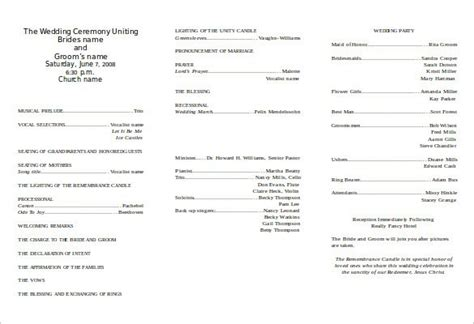 Free Templates For Church Programs by Wedding Program Template 64 Free Word Pdf Psd