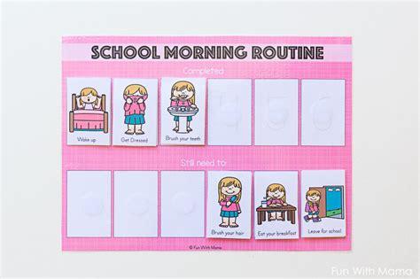 kids printable school morning routine cards fun  mama