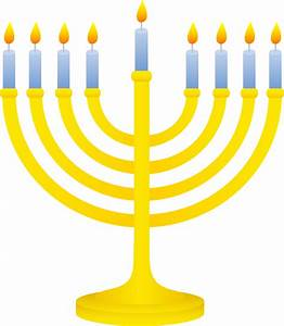 Golden Menorah With Lit Candles - Free Clip Art