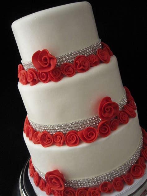 White Wedding Cake Red Roses With Rhinestones Lexington