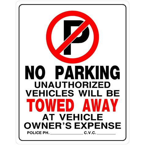 lowes kitchen ideas the hillman 15 in x 19 in plastic no parking sign