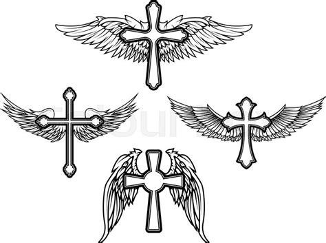 set   vector cross  wings stock vector