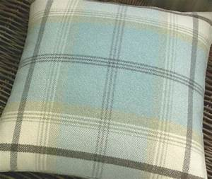 Wool Mix Tweed Plaid Tartan Cushion Throw Pillow