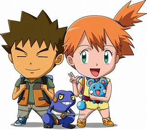 Chibi versions of Brock and Misty, from Pokémon anime. If ...