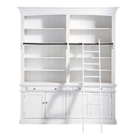 bibliotheque maison du monde biblioth 232 que avec 233 chelle en bois blanche l 200 cm amandine maisons du monde